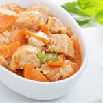Carne estofada con verduras al vapor