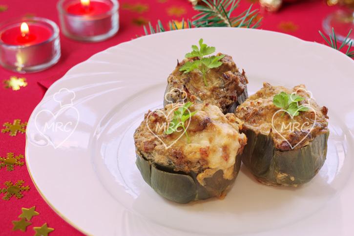 alcachofa rellena con huevo de codorniz y mantequilla de foie