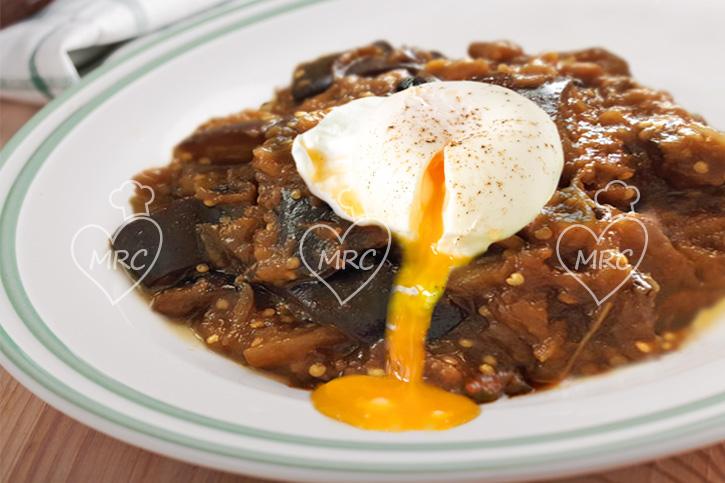 berenjenas confitadas con huevo poche