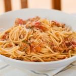 Espaguetis con atún rojo