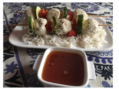Receta Termomix TM5 o TM31 brocheta de pollo salsa agridulce arroz basmati