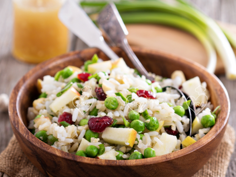 Receta Termomix TM5 o TM31 ensalada arroz integral con guisantes y manzana
