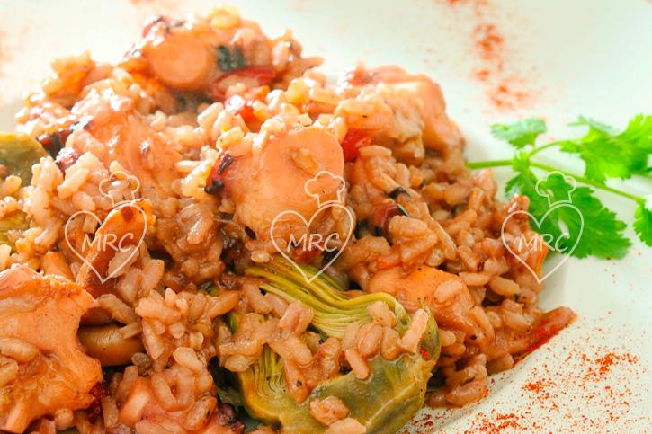 arroz de pulpo con alcachofas