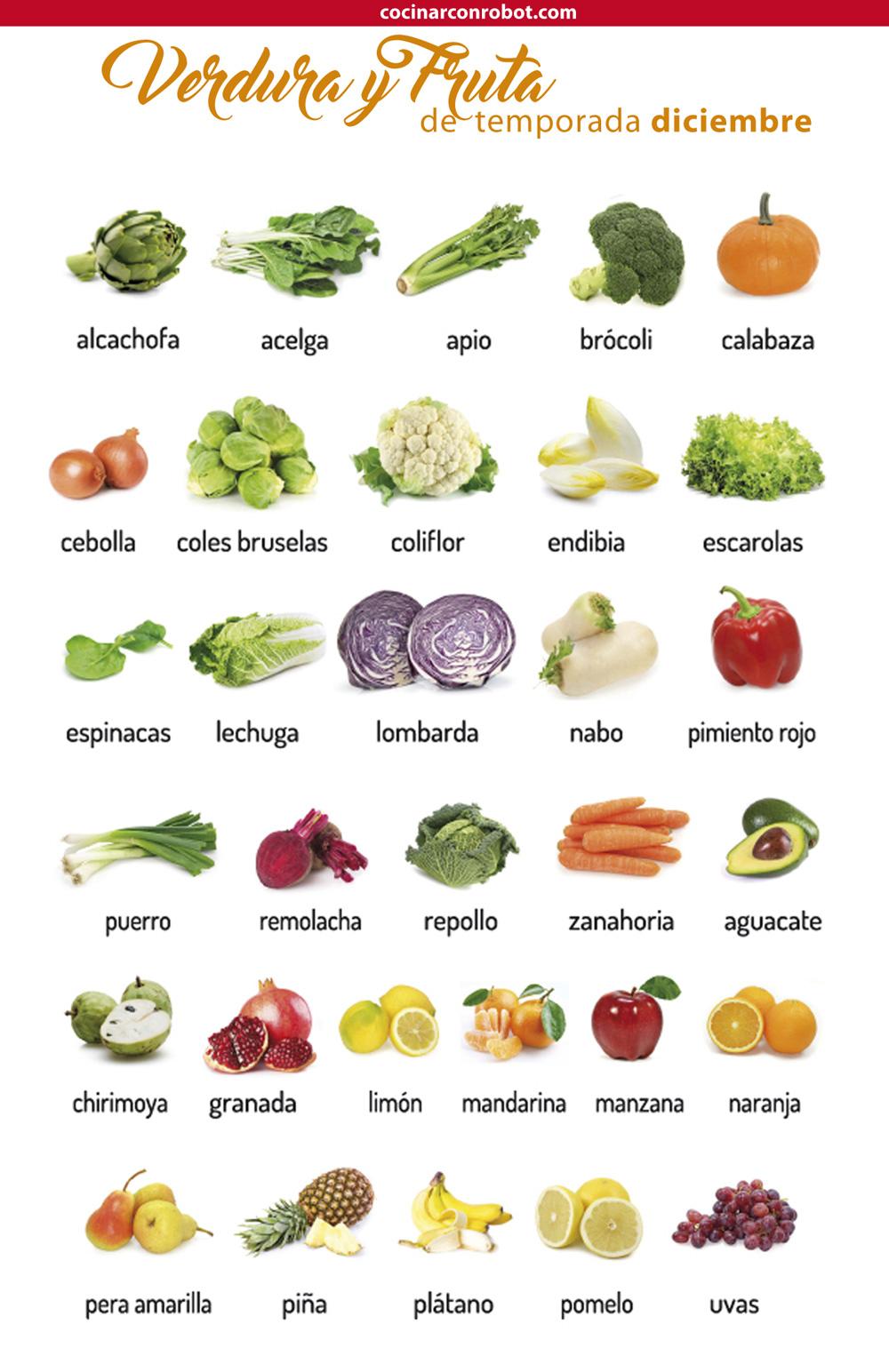 consume fruta y verdura de la temporada en diciembre