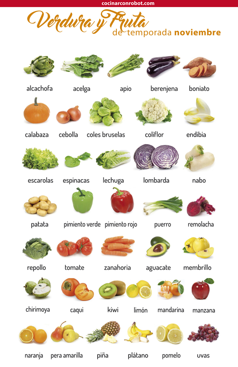 consume fruta y verdura de temporada en noviembre