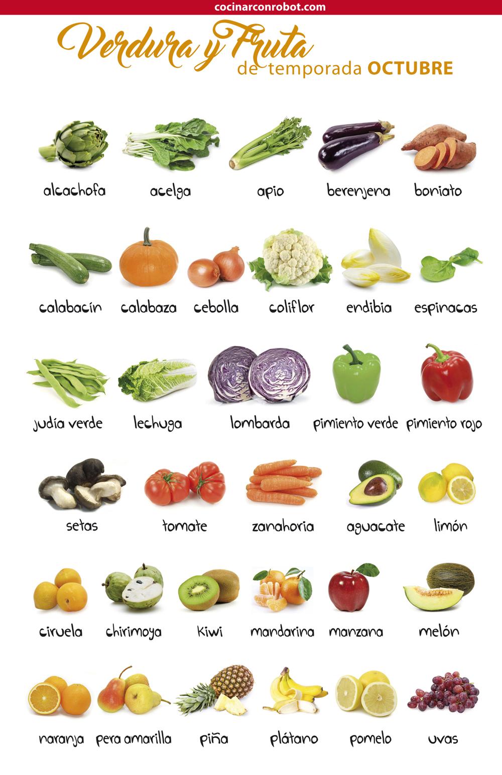 consume fruta y verdura de la temporada. otoño - octubre