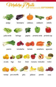 Verdura y fruta de temporada en verano septiembre