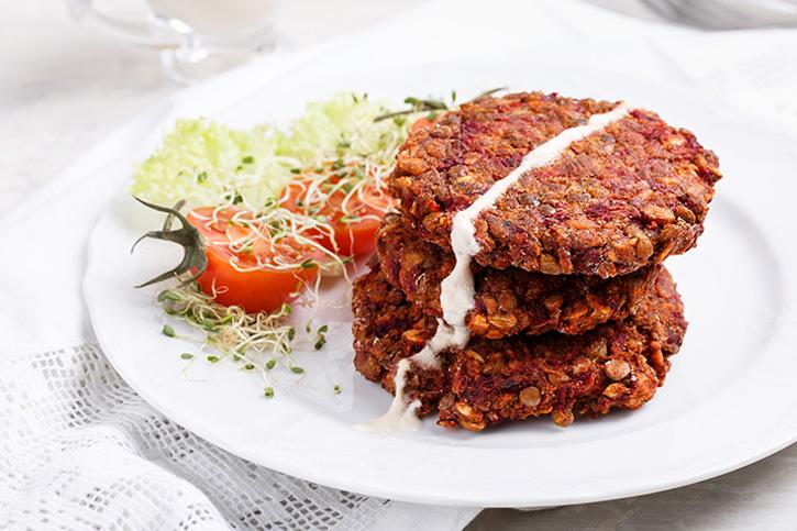 Hamburguesa vegana de lentejas y verduras prepararda con Thermomix