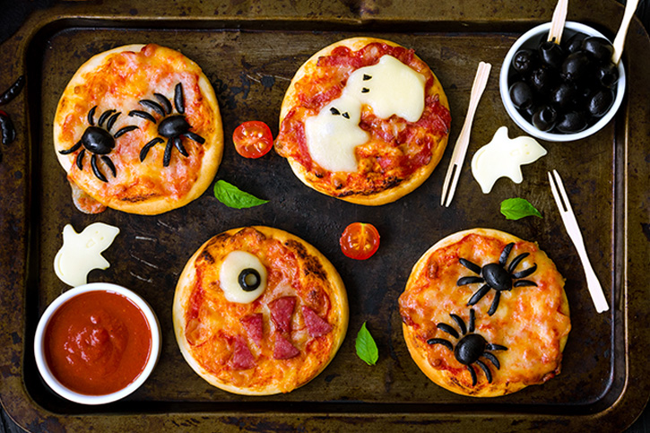 mini pizzas mostruosa halloween
