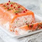 Pastel de salmón ahumado y queso
