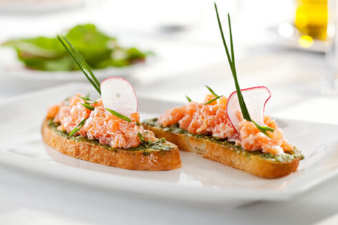 receta thermomix tostada de paté salmon y langostinos